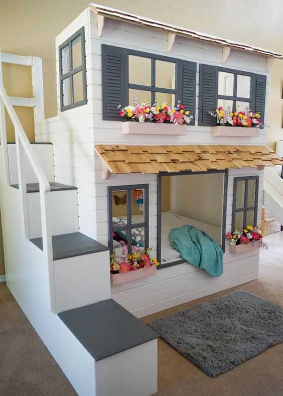 50 моделей двухъярусных кроватей для взрослых и детей и варианты оформления спален с их использованием 64