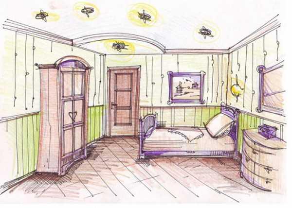 как нарисовать комнату с мебелью карандашом поэтапно мастер классы